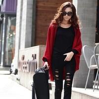 Women 2013 fashion Knit Top Sweaters loose batwing sleeve medium-long sweater vintage cardigan outerwear Free Shipping