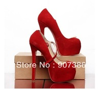 Women sexy high heeled shoe genuine leather red suede strap mary jane shoes dress pumps super platform sandals