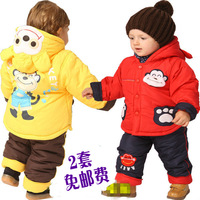 Free Shipping 2012 winter baby thickening windproof cotton-padded jacket trousers twinset male girls clothing X-mas Gift