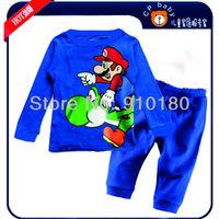 New arrivals 6 sets/lot baby cartoon super mario pajamas kids long sleeves pyjamas baby clothing sleepwear/underwear