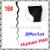 "20Pcs/Lot Pretty Hair, Body Wave Clips in Human Hair Extension 20"" Color#1B  5331"