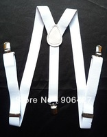 For Gift Beautiful 1PC White Unisex Clip-on Braces Elastic Suspenders