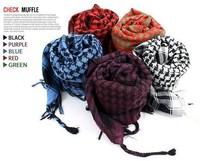 Free shiping 2pcs/lot 11 Colors U-pick Unisex Checkered Arab Shemagh Grid Neck Scarf Wrap Stole Pashmina Kafiya women  shawl