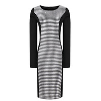 2012 new fashion winter women's elegant slim waist plus size OL woolen plaid patchwork pencil dress with zipper free shipping