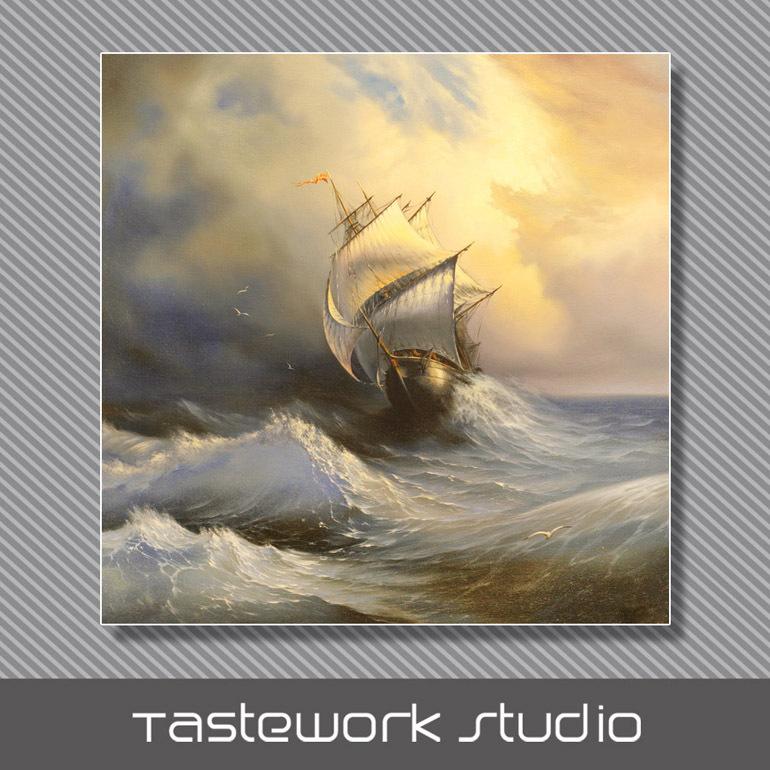 Bateau-voyage-dans-la-tempête-dans-les-gravures-de-peinture-murale