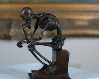 Bronze Statue Skull Skeleton thinker bronze sculpture, Signed: Milo