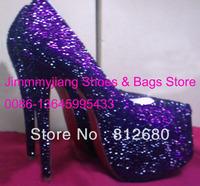 2013 New arrival multicolor purple crystal high heel wedding shoes sexy 16cm rhinestone bride shoes