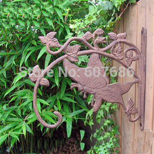 2 Pieces Cast Iron Butterfly Wall Mounted Bracket Garden Yard Home Decor for Hanging Flower Pot Birdcage Tools Free Shipping(China (Mainland))