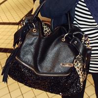 Paillette leopard print women's handbag fashion bags female handbag cross-body small bag 90 after women's handbag