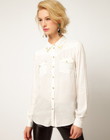 SW2006/I02 Women's Fashion Double Collar Chiffon Shirts, Ladies' Brand Blouse Boutique, Freeshipping