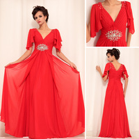 DORISQUEEN red color cap sleeve evening dress long for ladies 30758
