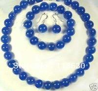 Beautiful China Jewelry 10MM blue jade Necklace set