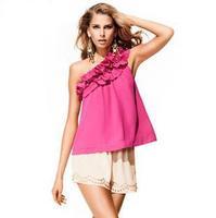 Free shipping chiffon blouse pretty tops for women ladies fold design tops