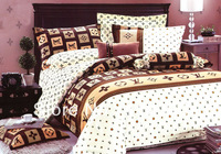 brand new adult printed bedding sets queen bed sheet pillow cases quilt / duvet cover set 4pcs comforter set free ship