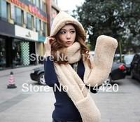 large size 160CM Winter Warm Furry Women's Girl Hoodie Gloves Pocket Hat Scarf Shawl