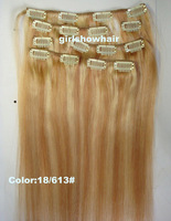 "Free shipping-Inch 15""18""20"" 22'' clip in  human hair extensions, clip in hair 7pcs, human hair,color 18/613 #,70g/7pcs/set"