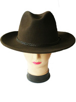 New style fashion brown cowboy hats for men 100% wool with leather strap and without lining and large brim for wholesale