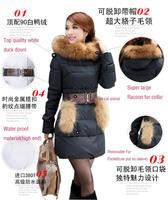 Top quality down coat,large racoon fur collar,slim medium-long women's jacket,lady fashion coat,lady winter coat,fashion wear