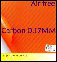 Orange 3D Carbon Fiber Car Wrap Car Sticker Film /1.52*30M Twill Weave Texture Thickness 0.17MM