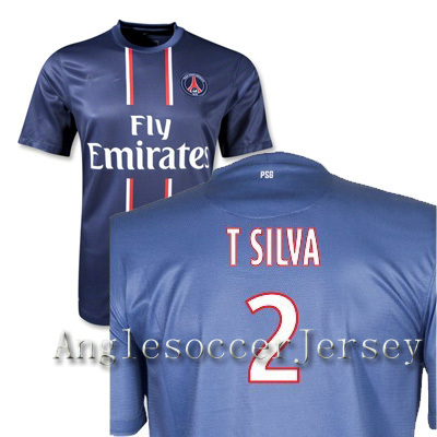 France league psg 2012-13 home Jersey soccer shirt 2# T SILVA Top quality can custom print S,M,L,XL(China (Mainland))