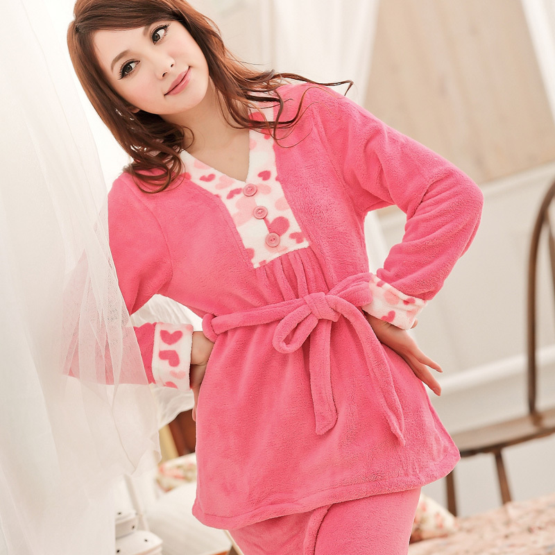 2012 new style women comfortable rose coral fleece set(China (Mainland))