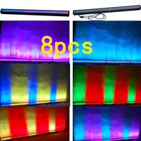 8pcs 252 10mm RGB LED Wall Wash Bar Flood Light Strobe Light Stage DJ Party Holiday Lighting