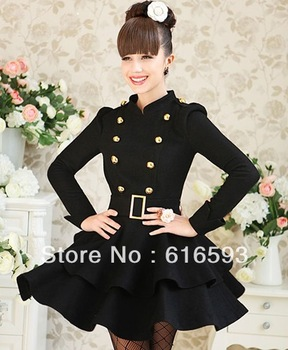 Free Shipping 10165 Classic Women Winter Double Breasted Woolen Thicken Multilayered Ruffle Lap Belted Stand Collar Dress Black