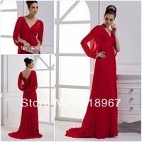 Free Shipping Red Jersey V-Neck Half Sleeves Crystal Long Formal Evening Dress
