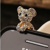 wholesale Diamond bear design anti dust plug stopper,1 designs,3.5mm,20 pcs/lot