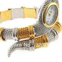 for women 2012 Stylish Snake Patterned Steel Wristwatch Bracelet Watch for Female (Golden & Silver)