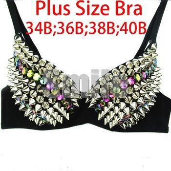 New Women's Sexy Golden Silver bra 34B 36B 38B 85B 40B Studs Rivet Spikes and Faced Stone Free shipping Clubwear Disco