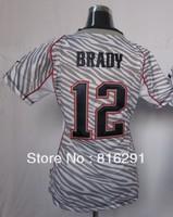 New arrived American football lady women Jersey 12 Brady Tom #12 WOMENS ZEBRA FASHION JERSEY  white color  jerseys
