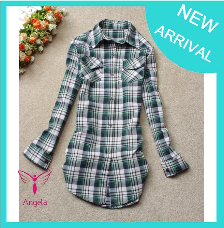 Simple & Plain Style 2013 New Arrival Girls' Cotton Plaid Blouse Long Sleeves Lapel Shirt Fashion Classic Blouse WSH-037(China (Mainland))