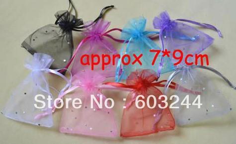 Free Hong Kong Post 500pcs 7*9cm Dots Organza Voile Jewelry Bag Gift Bags Candy Beads Make Up Christmas Bags(China (Mainland))