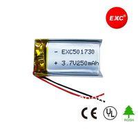 Wholesale 3.7V 250mAh Li-Polymer Battery with PCM PL501730,100pcs/lot