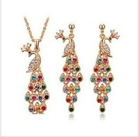 free shipping 18k gold plated Luxury Vintage Peacock crystal jewelry sets fashion jewelry sets for evening dress 1019
