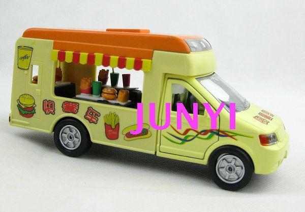 Alloy car models ice cream truck flow lunchwagon model lunchwagon toy acoustooptical WARRIOR car(China (Mainland))