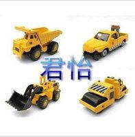 4 alloy engineering car model truck set bulldozer road roller dump truck 4
