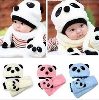 Fashon hot cartoon children hats 100% wool hat+scarf set Panda cap children animal cap Warm winter Gift
