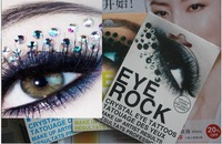 Free shipping 100 x Trendy New Eye Rock Tattoos With Rhinstone Eye Glitter makeup Sticker  3 designs for mix