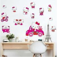 Free shipping 45*60cm Cartoon wallpaper decor kids stickers hello kitty diy craft baby room stickers tv sofa backgroud stickers