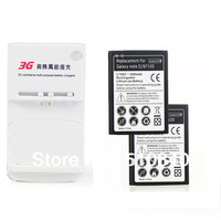 2x 3500mAh Li-ion Rechargeable Battery + Wall Dock Charger For Samsung Galaxy Note2 Note 2 N7100 N7108 +Free shipping