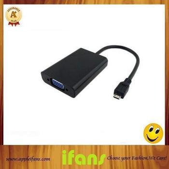 High Quaity MHL Micro USB to VGA Adapter Cable For Samsung Galaxy S II i9100 i9220 i9250 Free Shipping