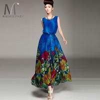 2014 chiffon skirt gentlewomen sleeveless chiffon fashion dress lyq99 print vintage dot Geometry maxi full