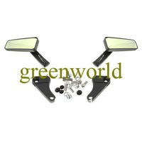 Free Shipping Brand New Motorcycle Rear View Mirrors - Gold Glass, Black Casing