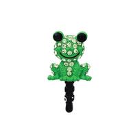 Free shipping Cute frog Anti Dust Crystal Earphone Jack Plug for iPhone,phone dust plug  12Pcs/Lot