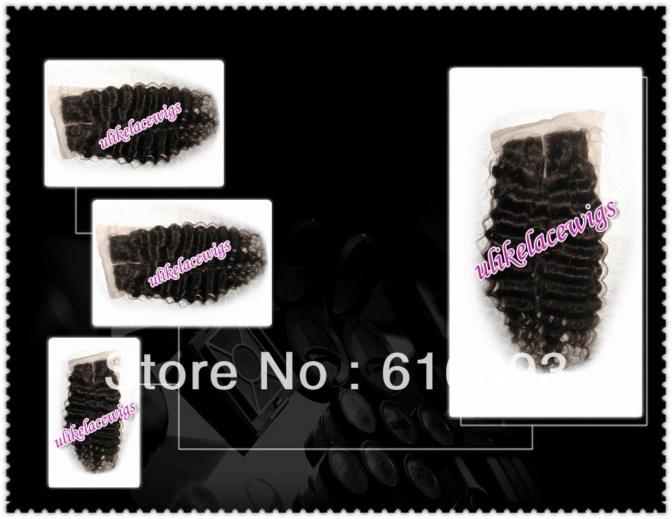 "Human Hair Wholesale 12"" #2 as photo Deep Wave Peruvian Virgin Hair Top Closure Lace closures(4""x4"")(China (Mainland))"