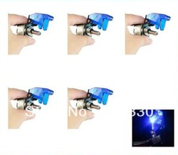 5Pcs 12V Racing Car Blue LED Lights Cover Toggle Switch US Delivery(China (Mainland))