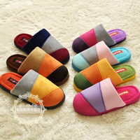 Three-color stripe patchwork indoor home floor slippers winter thickening thermal lovers cotton-padded slippers FREE SHIPPING