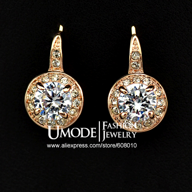 18KRGP Rose Gold Plated 1ct Round CZ Stone Hook Earrings (Umode JE0217A)(China (Mainland))